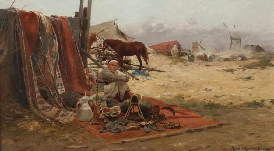 """Michał Gorstkin Wywiórski (1861-1926) """"Scena targowa"""", źródło: Yves Siebers Auktionen"""