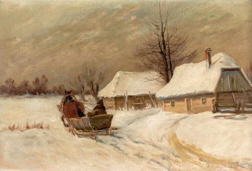 """Ignacy Zygmuntowicz (1875-1947) """"Powrót saniami"""", źródło: Auktionscontor Frank Peege"""
