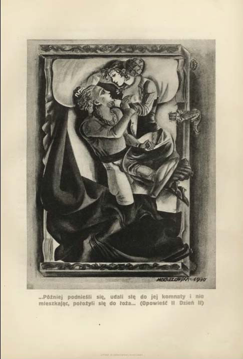 """Maja Berezowska (1893 - 1978), Ilustracja do """"Dekameronu"""" Boccaccia, źródło: Biblioteka Uniwersytetu Zielonogórskiego"""