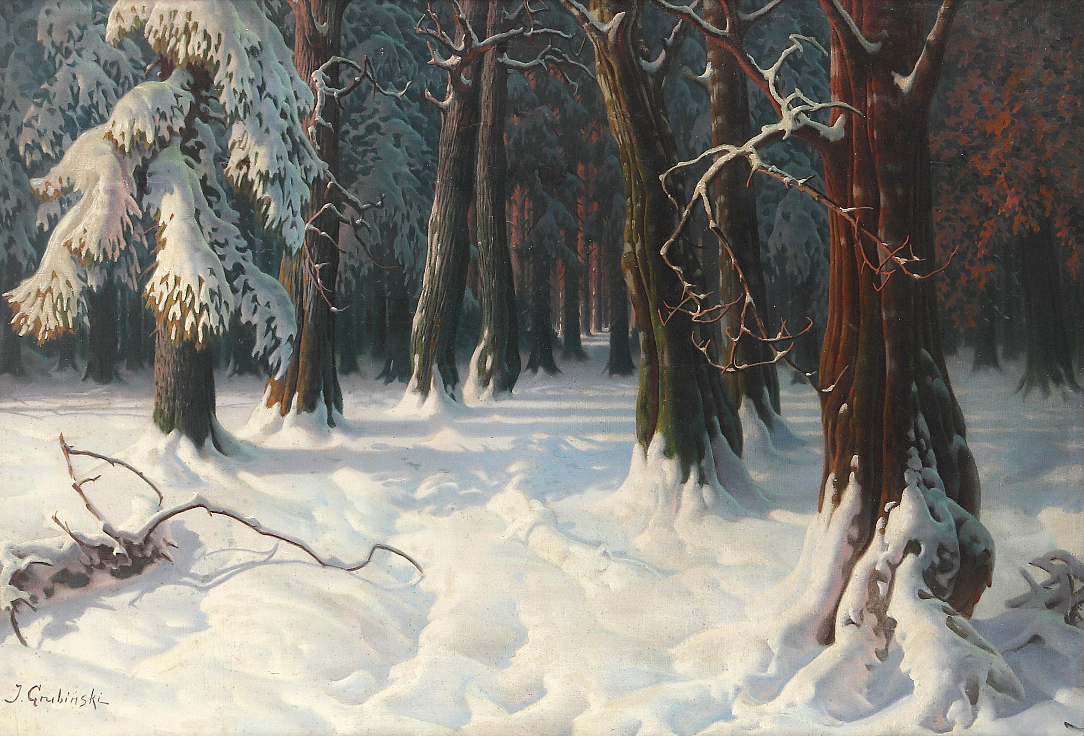 """Jan Grubiński (1874-1945) """"Pejzaż zimowy"""", źródło: Dorotheum"""