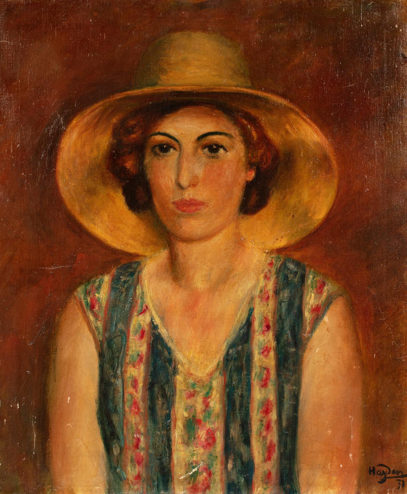 """Henryk Hayden (1883-1970) """"Portret kobiety w kapeluszu"""", źródło: Millon"""