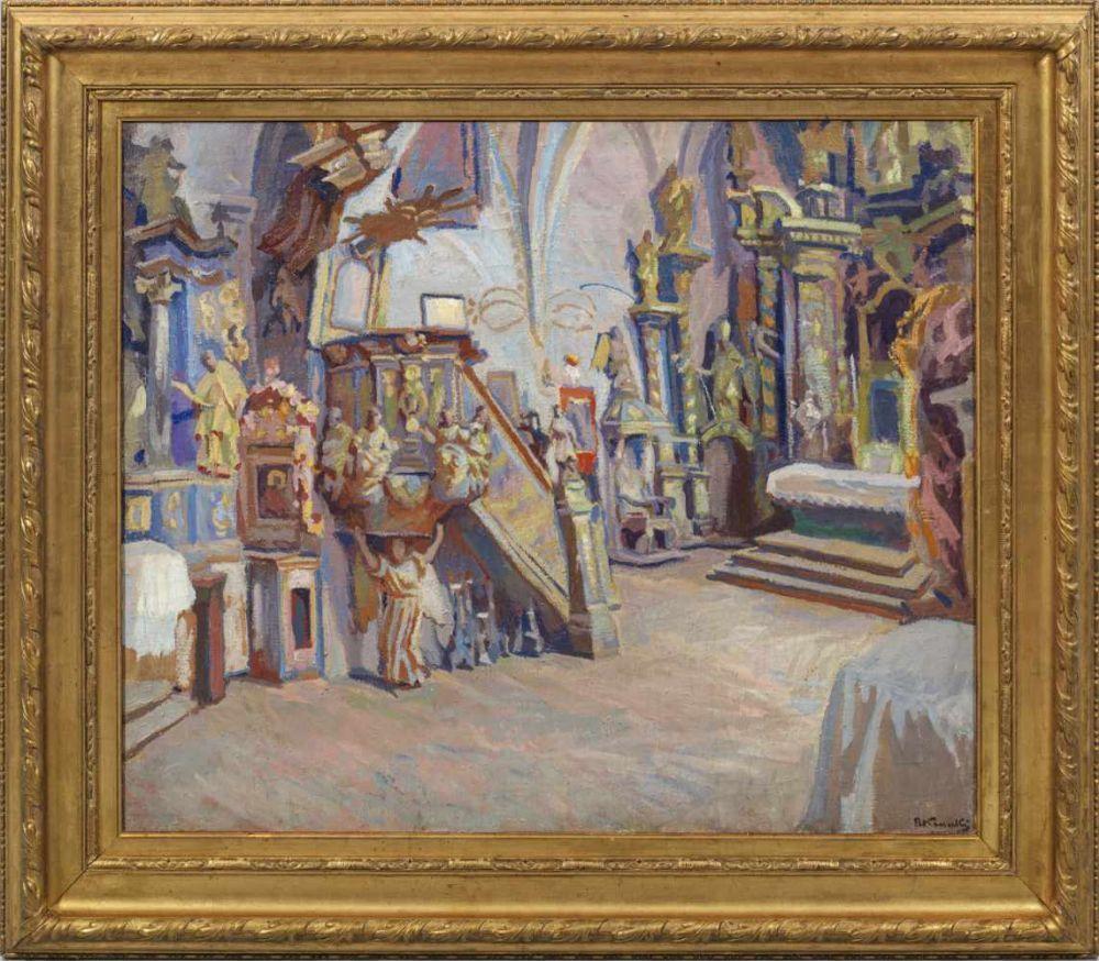 """Stanisław Kamocki (1875-1944) """"Wnętrze kościoła we Frydmanie"""", źródło: Kunstauktionshaus Schloss Ahlden"""