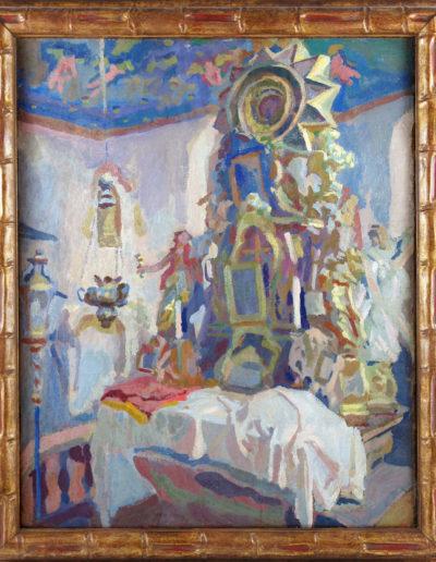 """Stanisław Kamocki (1875-1944) """"Kościół we Frydmanie"""", źródło: Salon Dzieł Sztuki Connaisseur"""
