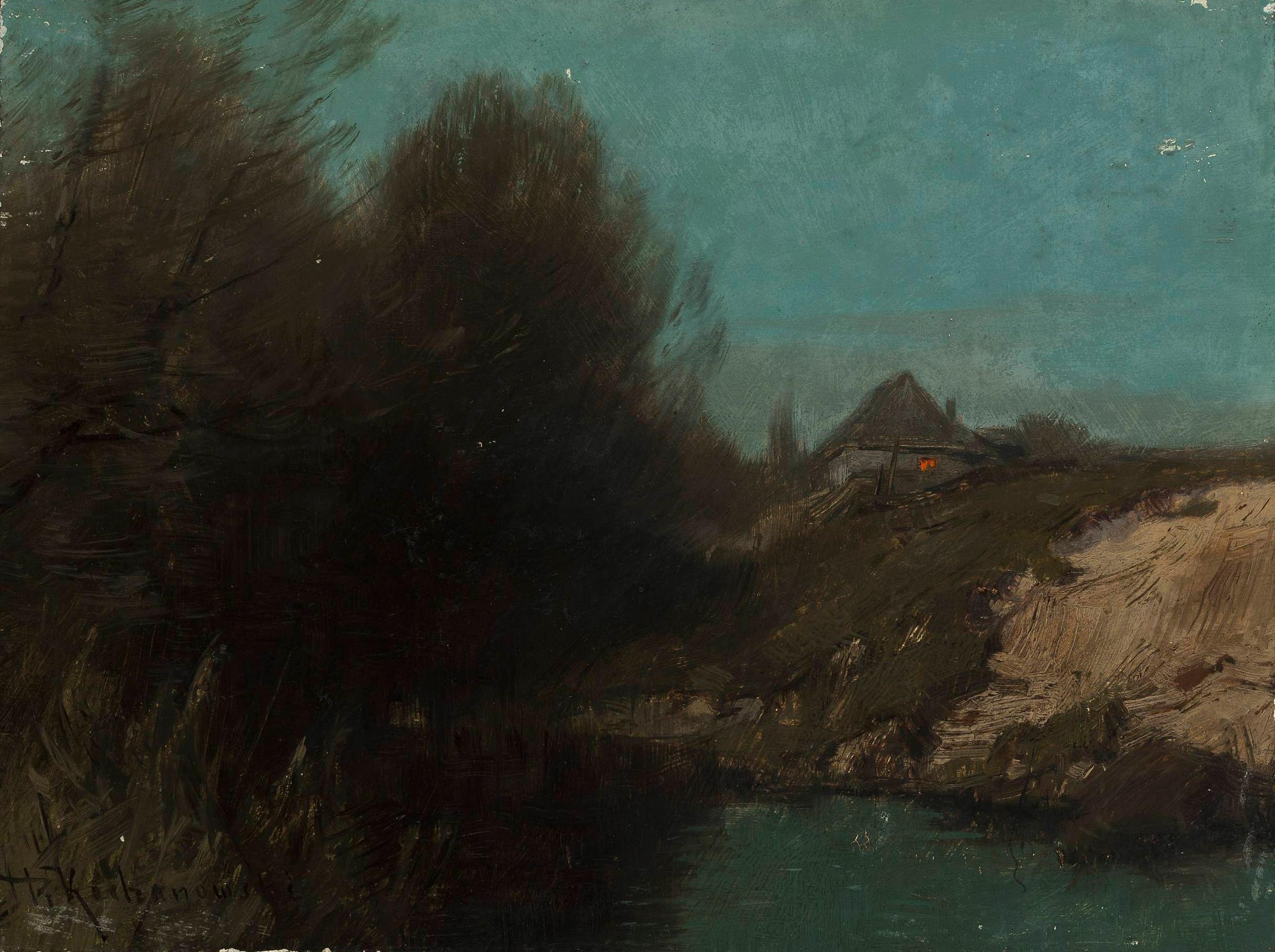 """Roman Kochanowski (1857 - 1945) """"Krajobraz z chatą"""", między 1890-1900 rokiem, źródło: Muzeum Narodowe w Warszawie"""