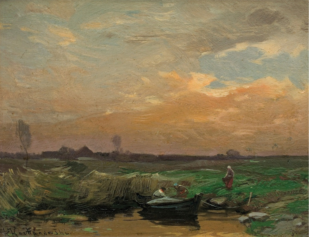 """Roman Kochanowski (1857-1945) """"Pejzaż z łódką"""", źródło: Agra-Art"""