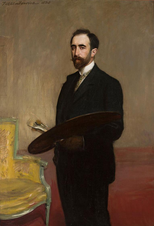 """Teodor Axentowicz (1859 - 1938) """"Autoportret z paletą"""", 1898 rok, źródło: Muzeum Narodowe w Warszawie"""