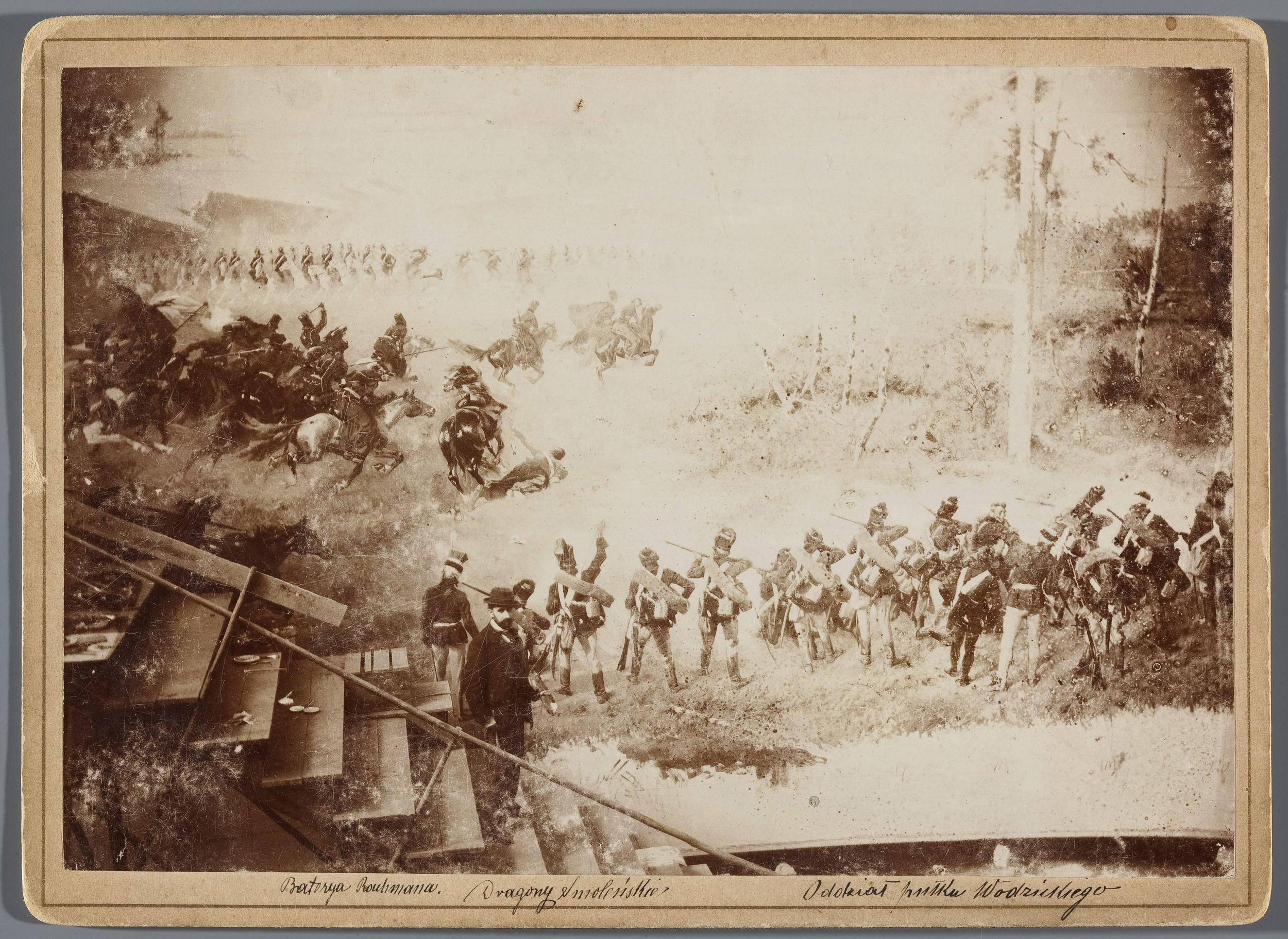 """Teodor Axentowicz na tle 2 Regimentu Gen. Wodzickiego """"Panoramy Racławickiej"""", ok. 1894 roku, źródło: Muzeum Narodowe w Warszawie"""