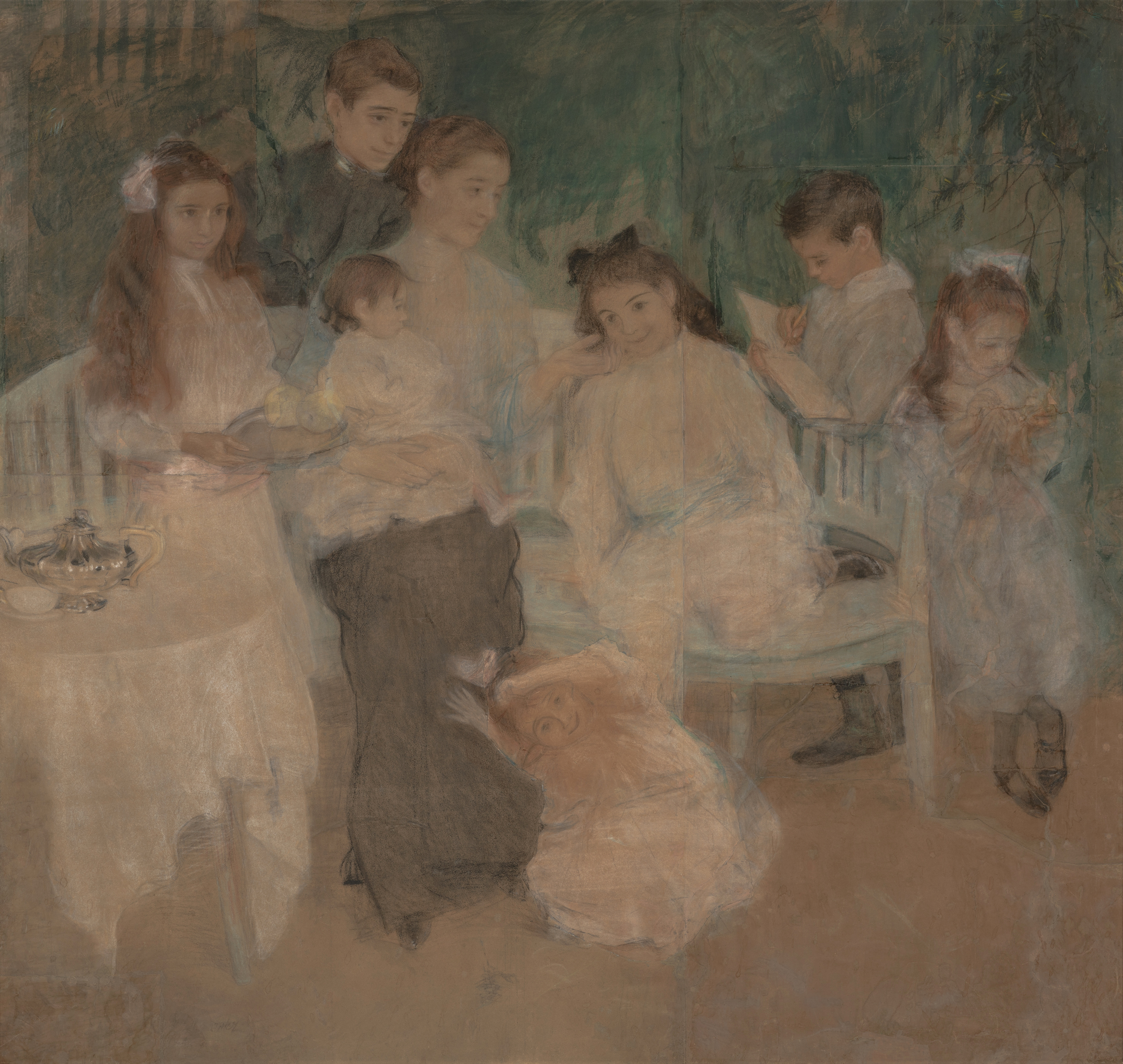 """Teodor Axentowicz (1859 - 1938) """"Rodzina artysty w Zakopanem"""", 1907 rok, źródło: Muzeum Śląskie w Katowicach"""