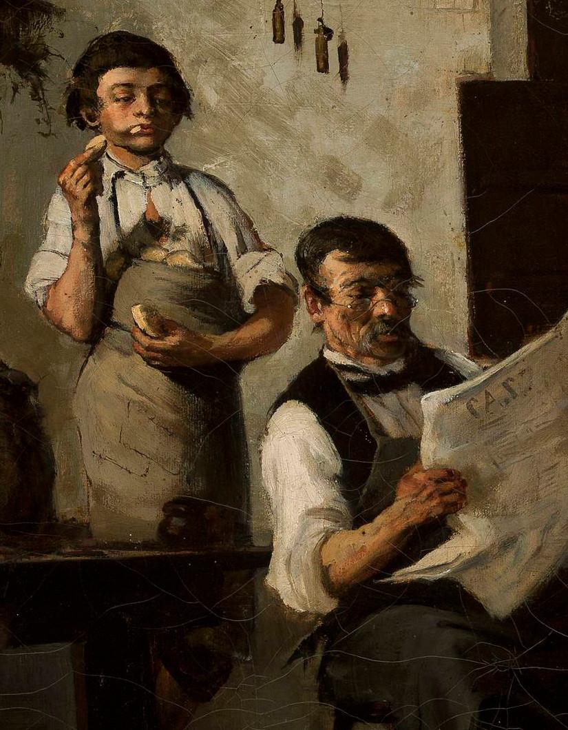 """Wacław Koniuszko (1854-1900) """"Czytanie Czasu (Szewski poniedziałek)"""", detal, 1881 rok, źródło: Muzeum Narodowe w Warszawie"""