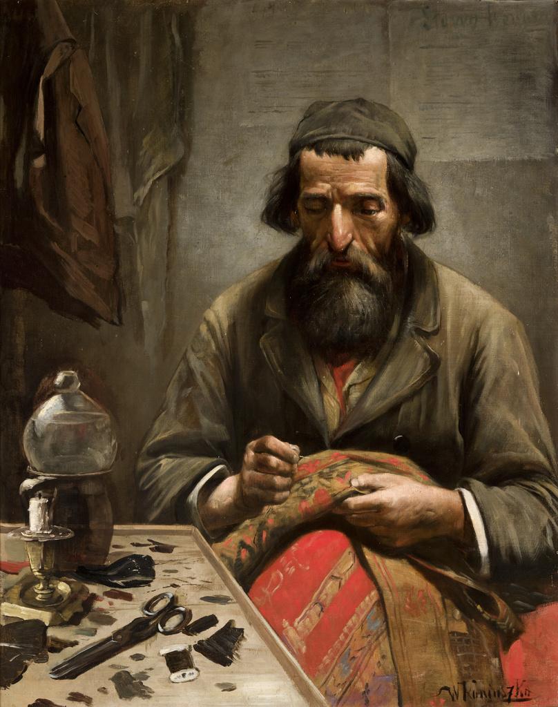 """Wacław Koniuszko (1854-1900) """"Żyd naprawiający dywan"""", ok. 1890 roku, źródło: Muzeum Narodowe w Krakowie"""