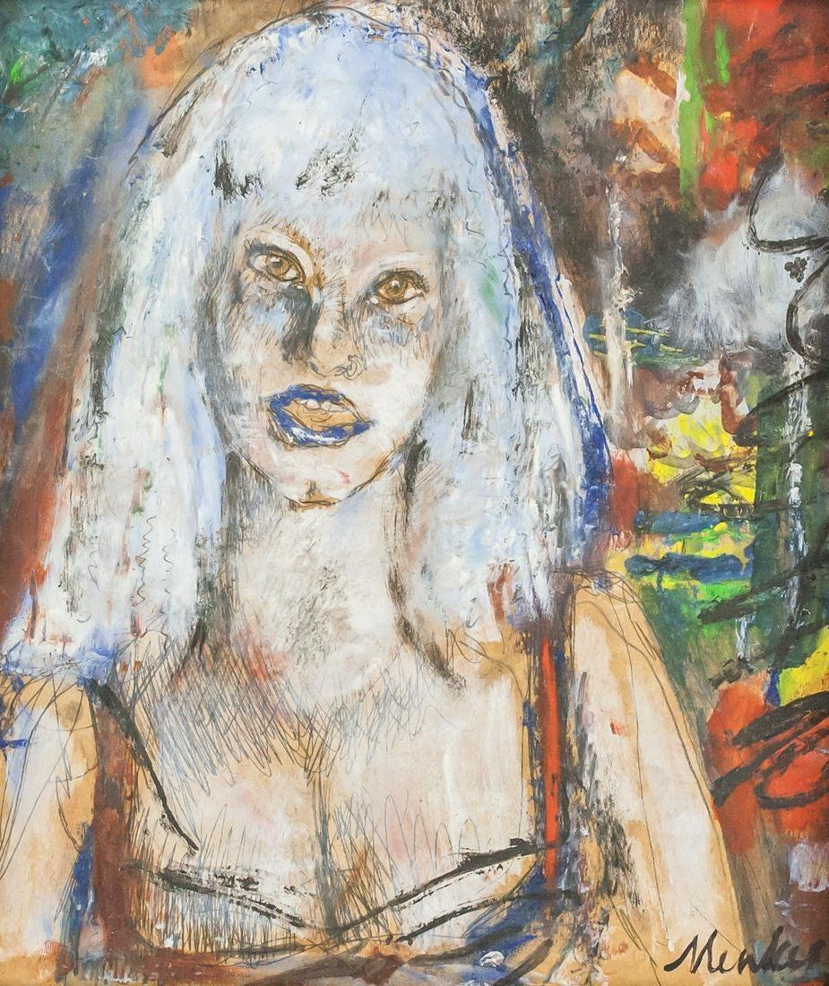 """Zygmunt Menkes (1896-1986) """"Portret dziewczyny"""", źródło: 888 Auctions"""