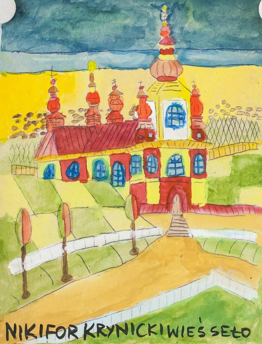 """Nikifor (1895-1968) """"Pejzaż z kościołem"""", źródło: 888 Auction"""