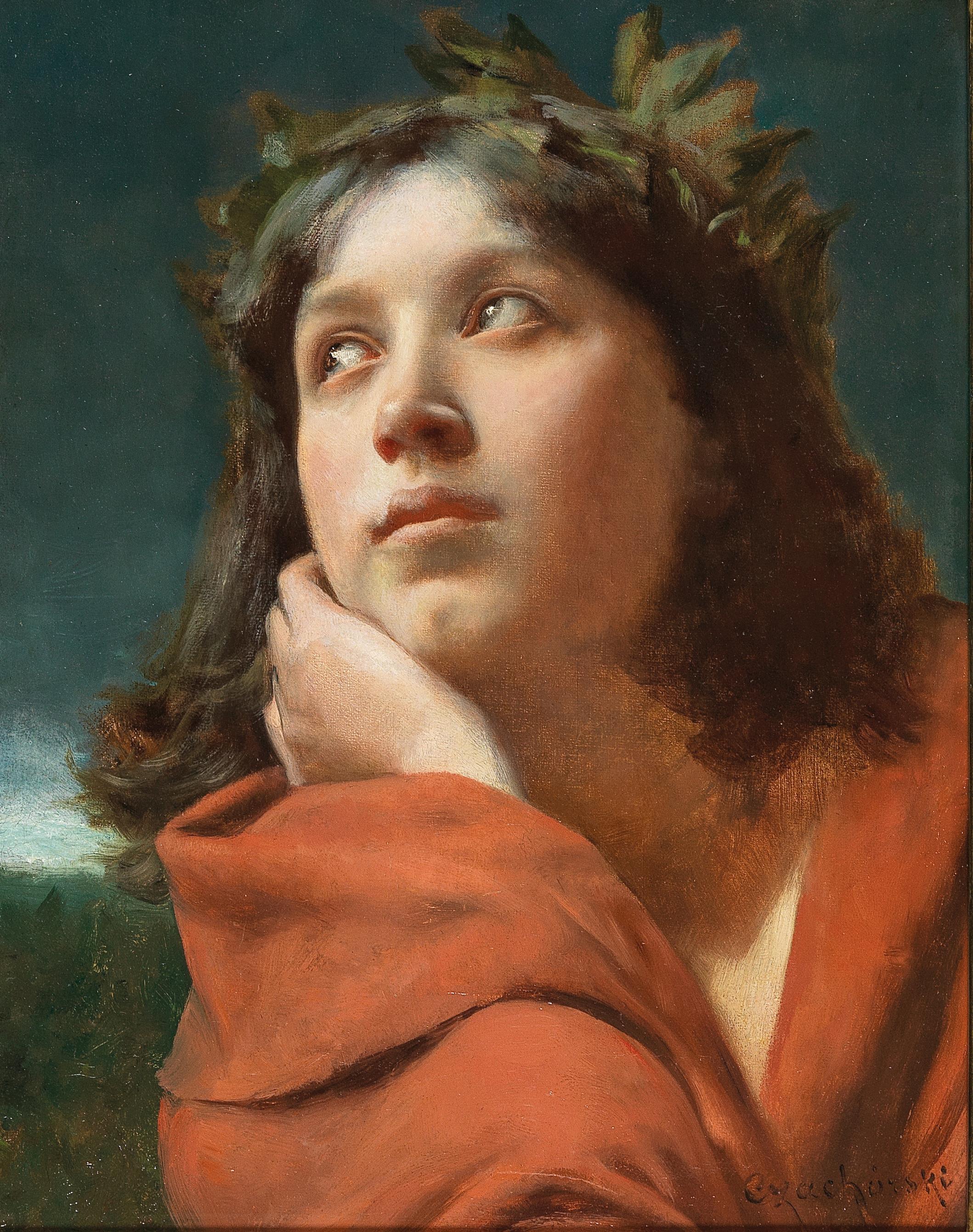 """Władysław Czachórski (1850-1911) """"Dziewczyna w wieńcu"""", źródło: Dorotheum"""