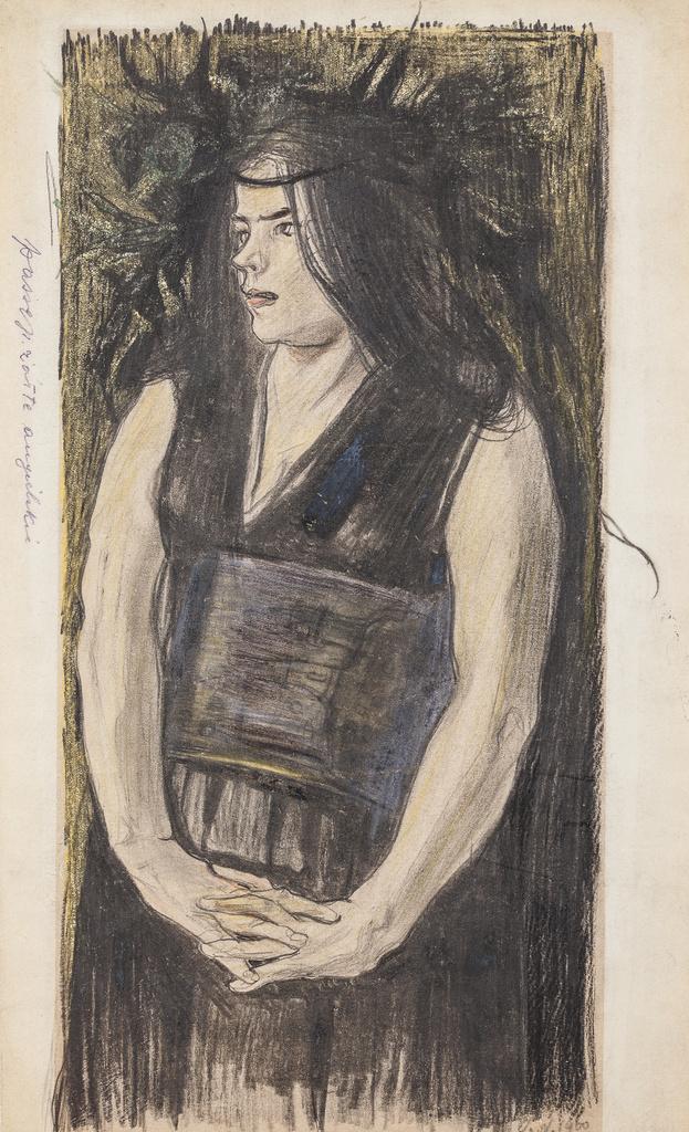 """Stanisław Wyspiański (1869-1907) """"Kobieta w opasku góralskim"""", 1900 rok, źródło: Muzeum Narodowe w Krakowie"""