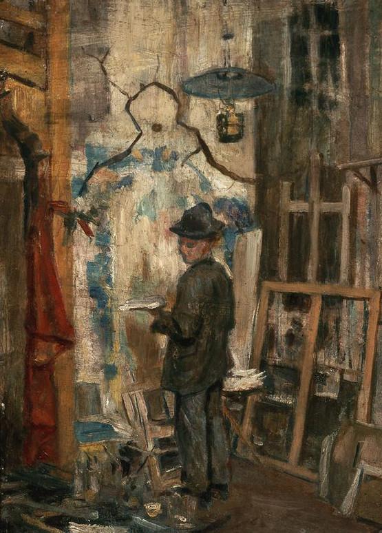 """Stanisław Wyspiański (1869-1907) """"Józef Mehoffer w pracowni"""", 1893 rok, źródło: Muzeum Narodowe w Warszawie"""