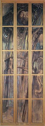"""Stanisław Wyspiański (1869-1907) """"Święty Stanisław"""", karton witrażowy do katedry wawelskiej, lata 1900-1902, źródło: Muzeum Narodowe w Krakowie"""