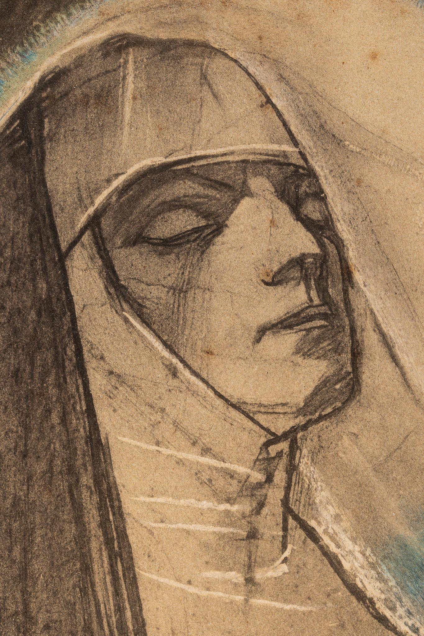 """Stanisław Wyspiański (1869-1907) """"Błogosławiona Salomea"""", fragment, (litografia), źródło: Salon Dzieł Sztuki Connaisseur"""