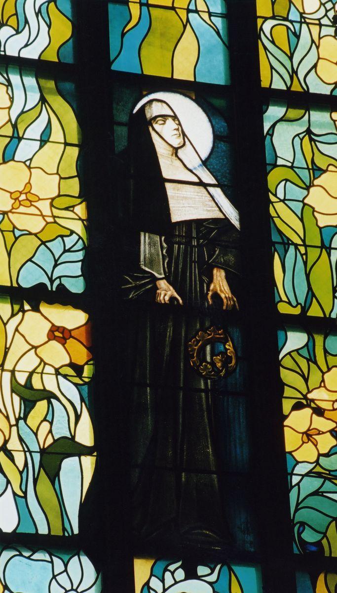 Witraż z Błogosławioną Salomeą projektu Stanisława Wyspiańskiego, źródło: Archiwum Klasztoru św. Franciszka z Asyżu w Krakowie