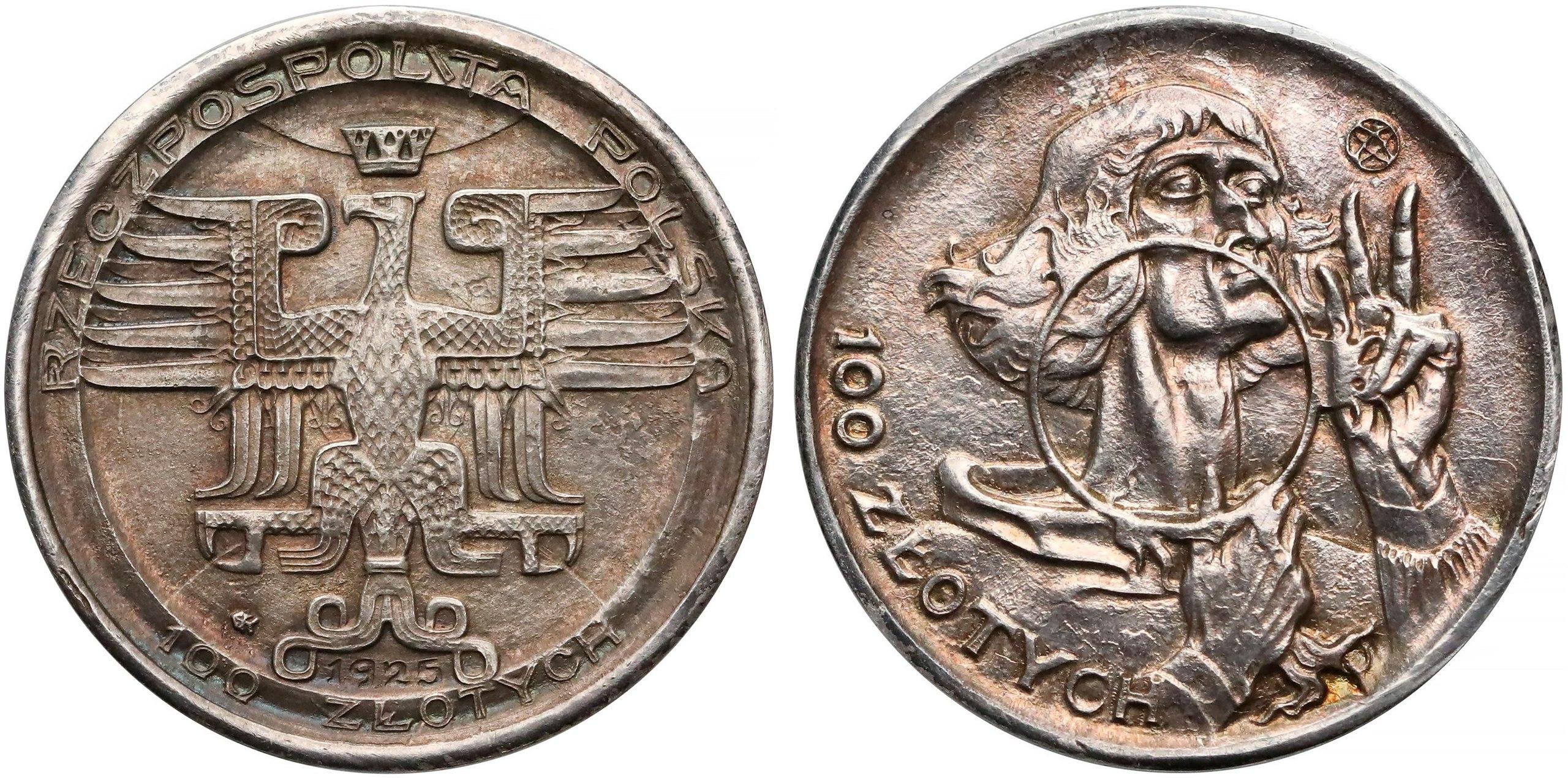 Stanisław Szukalski (1893-1987), moneta 100 złotych Mikołaj Kopernik, wersja wybita w srebrze, 1925 rok , źródło: wikipedia.pl