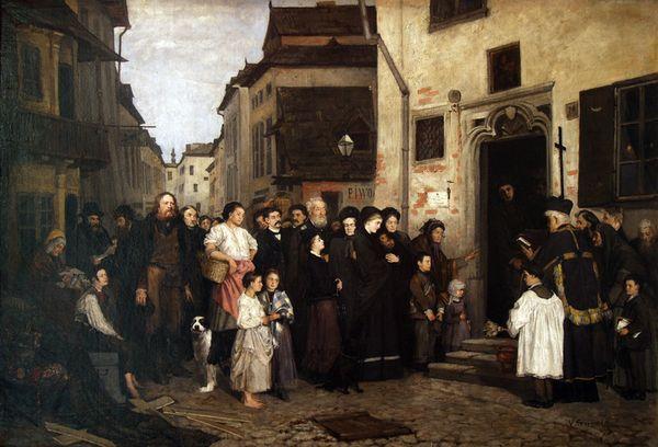 """Wacław Koniuszko (1854-1900) """"Pogrzeb powstańca na krakowskim Kazimierzu"""", źródło: Muzeum Krakowa"""