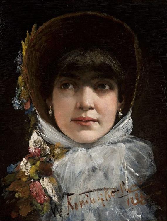 """Wacław Koniuszko (1854-1900) """"Portret młodej kobiety z grzywką """", 1882 rok, źródło: Muzeum Narodowe w Warszawie"""