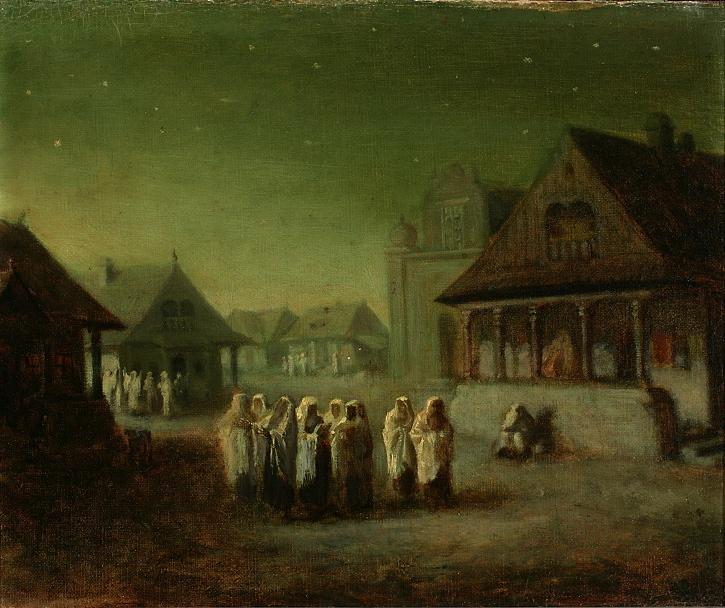 """Wacław Koniuszko (1854-1900) """"Powrót z synagogi"""", po 1885 roku, źródło: Muzeum Narodowe w Warszawie"""