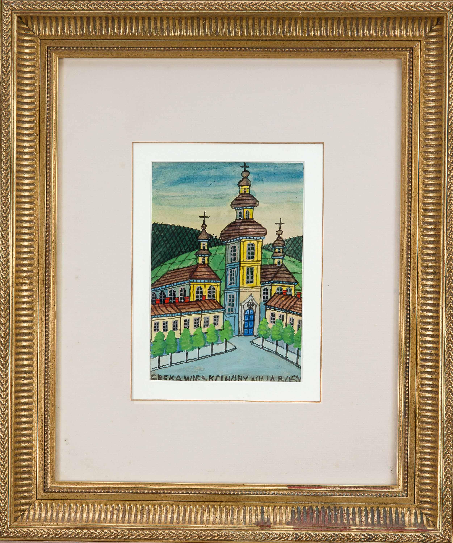 "Nikifor (1895-1968) ""Pejzaż z kościołem"", źródło: Historia Auctionata"