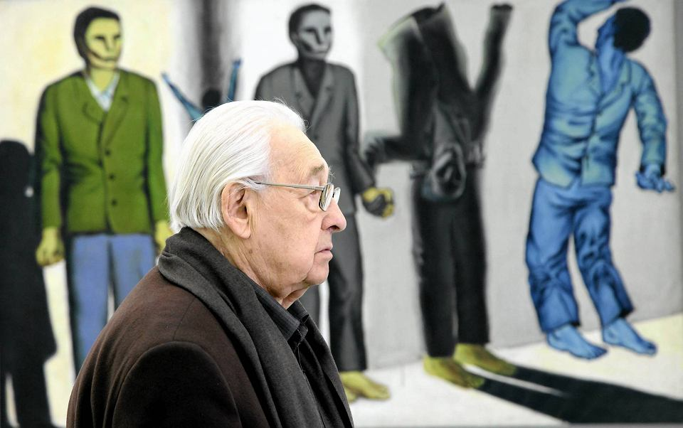 """Andrzej Wajda na wystawie """"Wróblewski według Wajdy"""", źródło: wyborcza.pl"""