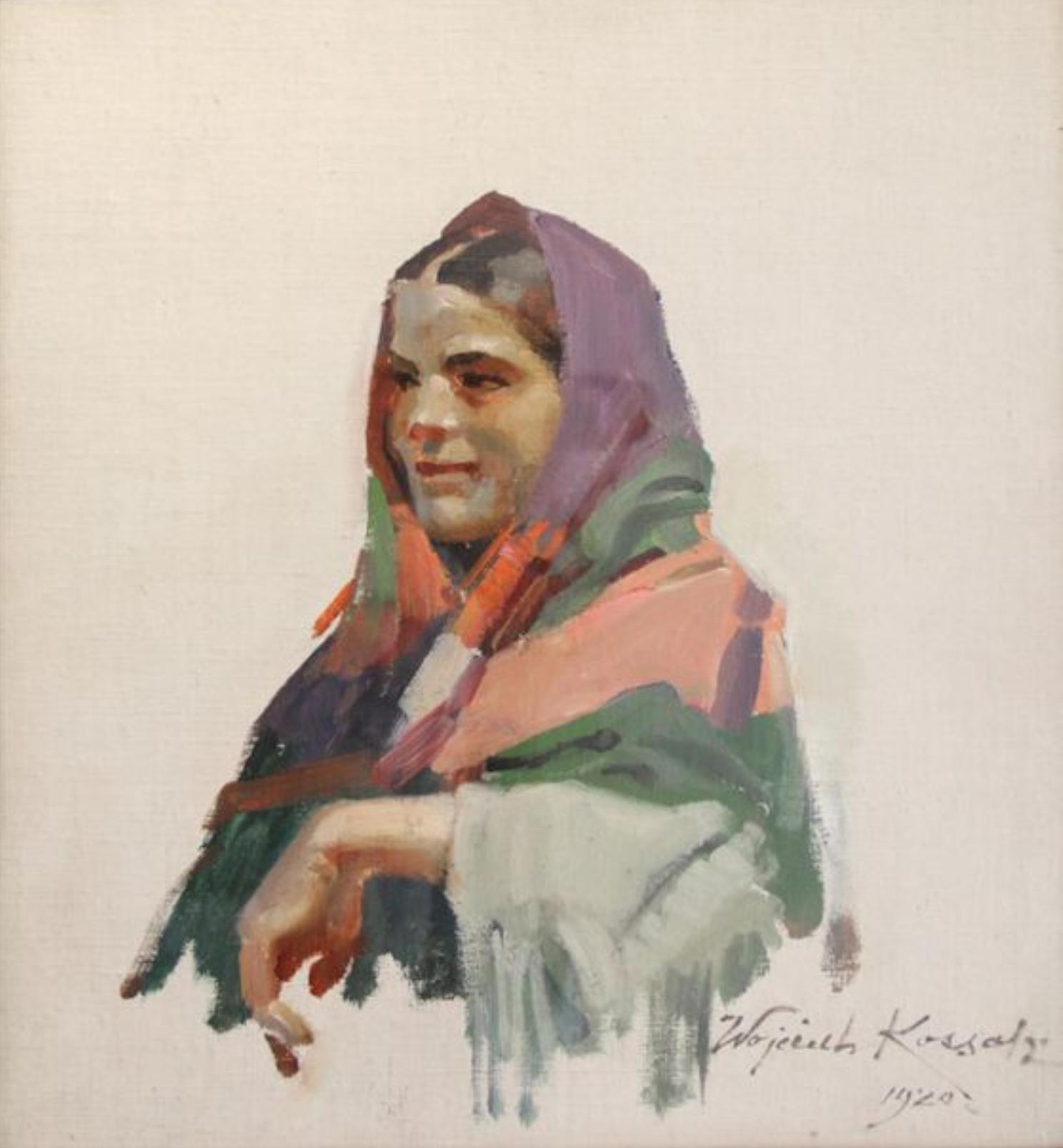 """Wojciech Kossak (1856-1942) """"Wiejska dziewczyna"""", źródło: Doutrebente - Drouot"""