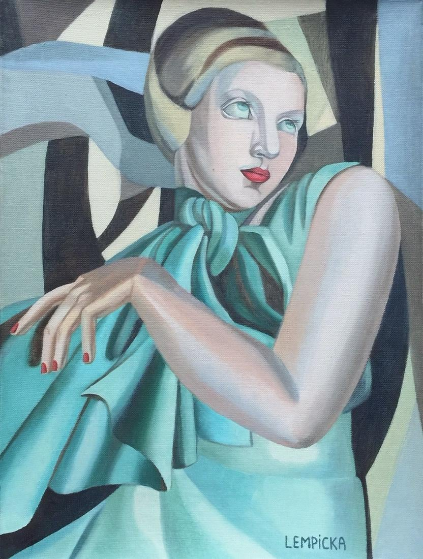 "Tamara Łempicka (1898-1980) ""Seledynowa dama"", źródło: Harlequin Auction"