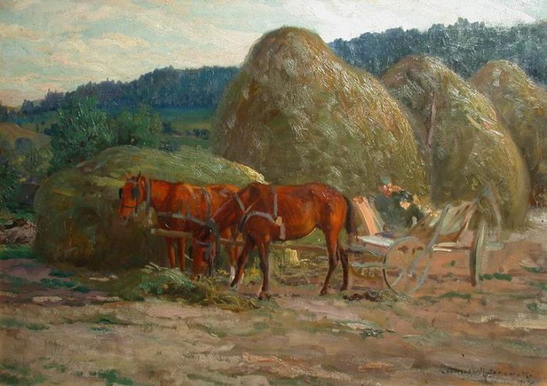 """Leonard Winterowski (1886-1927) """"Po sianokosach"""", źródło: Catawiki"""