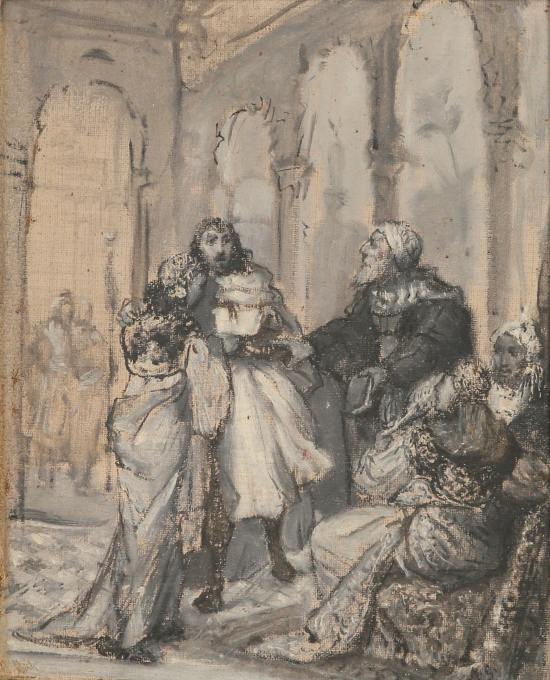 """Maurycy Gottlieb (1856-1879) """"Sittah, Sułtan i Natan (scena finałowa z """"Natana Mędrca"""")"""", źródło: Tiroche"""