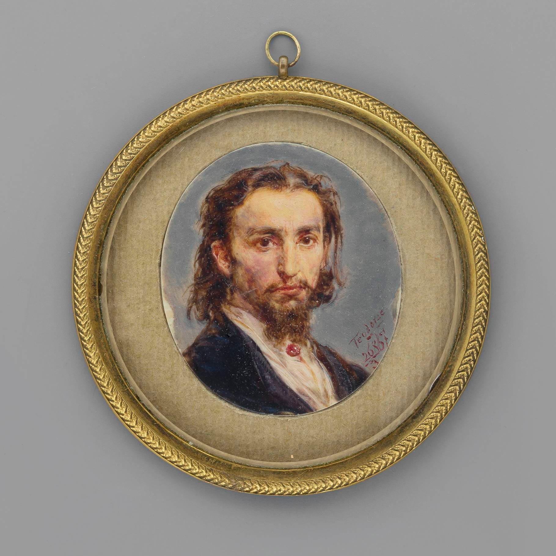 """Kość słoniowa była wykorzystywana jaka szlachetne podłoże dla malarskich miniatur; tutaj """"Autoportret"""" pędzla Jana Matejki z 1867 roku, źródło: Muzeum Narodowe w Warszawie"""