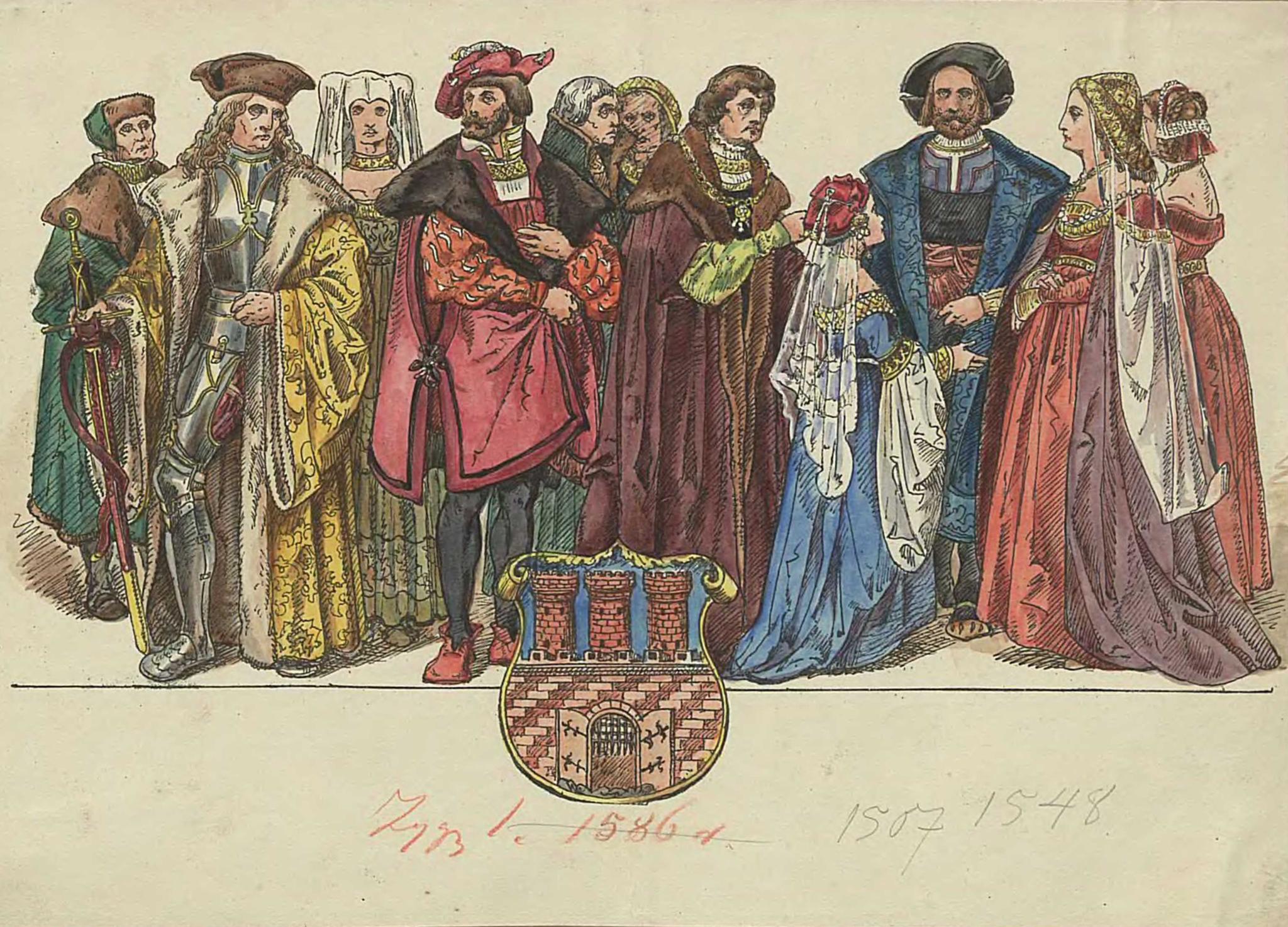 """Plansza z albumu Jana Matejki """"Ubiory w Polsce 1200-1795"""", źródło: Biblioteka Cyfrowa Uniwersytetu Wrocławskiego"""