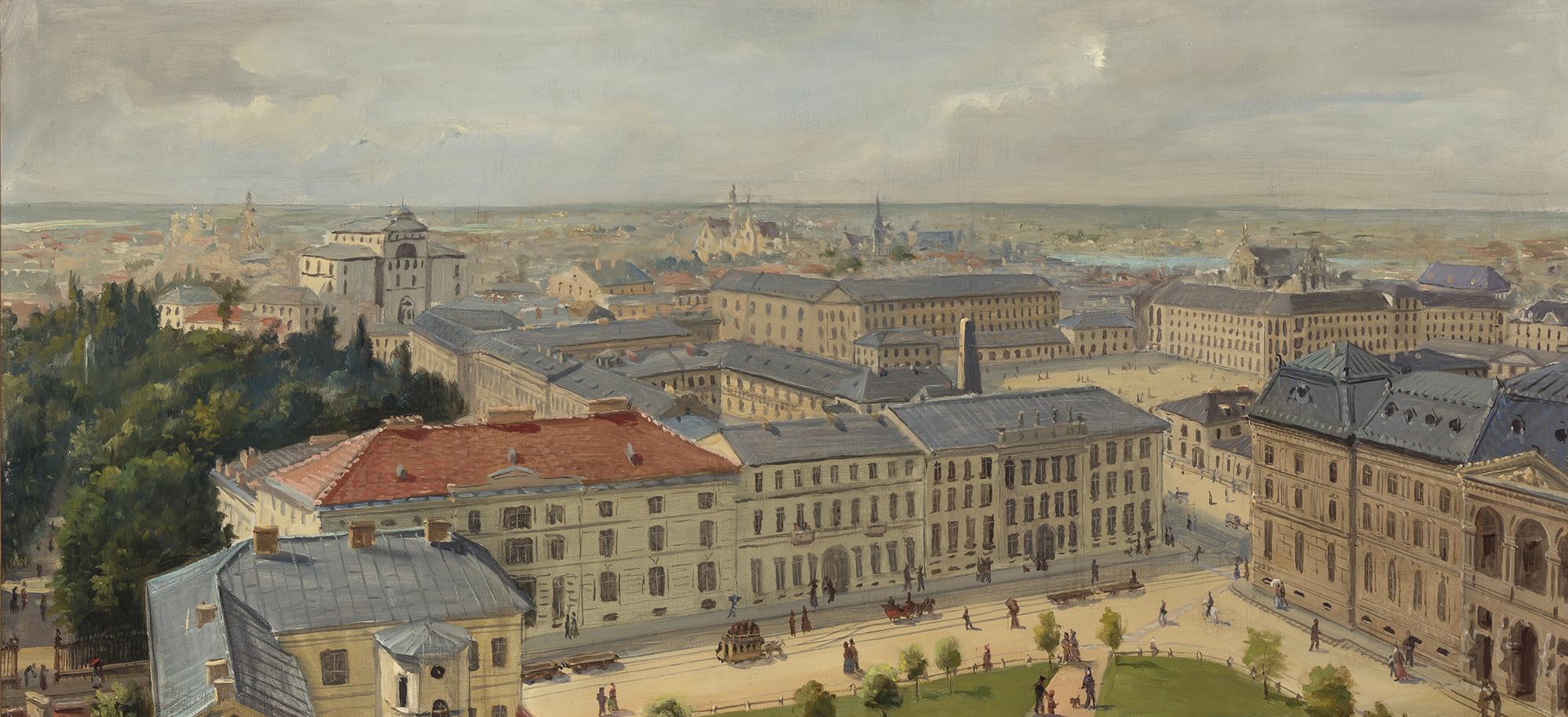 """Czesław Borys Jankowski (1862-1941) """"Panorama Warszawy"""", źródło: Doyle Auctions"""