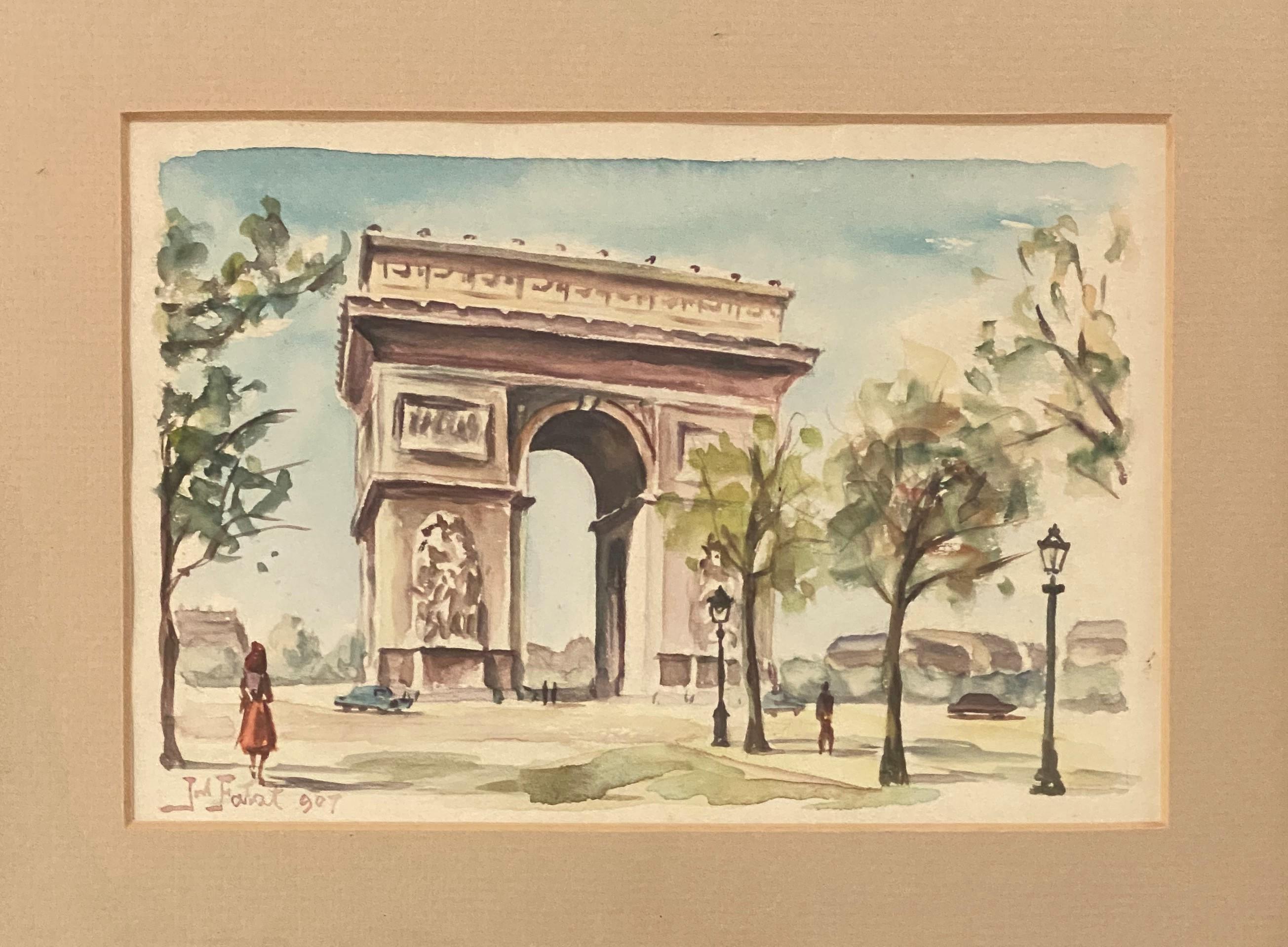 """Julian Fałat (1853-1929) """"Łuk triumfalny w Paryżu"""", źródło: Coral Gables Auction"""