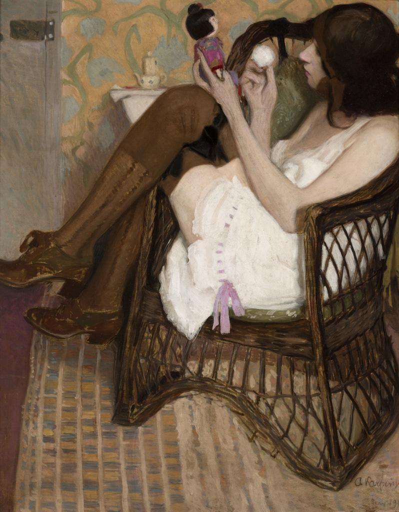 """Alfons Karpiński (1875 - 1961) """"Jane z japońską laleczką"""", 1909 rok, źródło: Muzeum Narodowe w Krakowie"""
