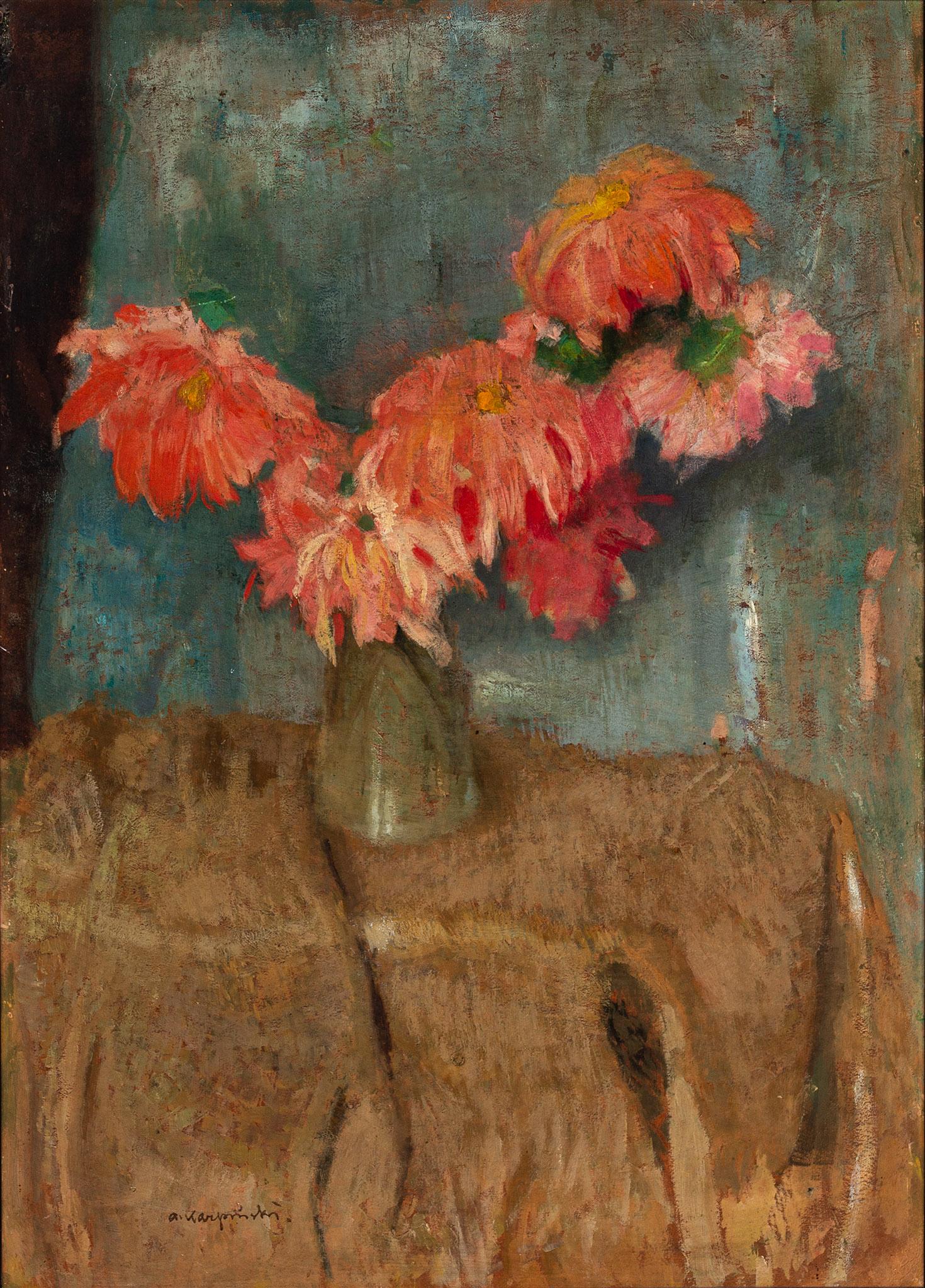 """Alfons Karpiński (1875 - 1961) """"Astry w wazonie"""", źródło: Salon Dzieł Sztuki Connaisseur"""