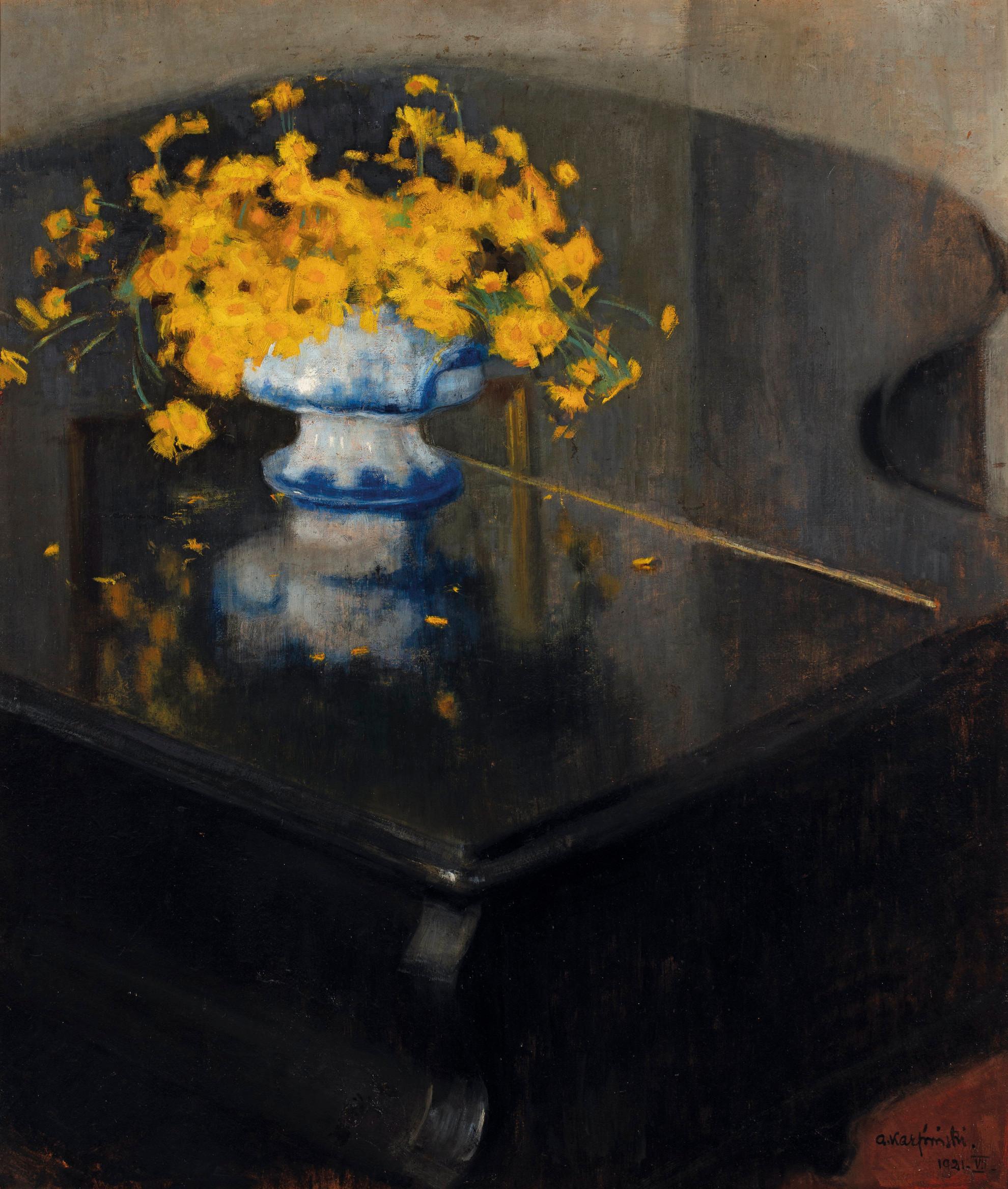 """Alfons Karpiński (1875 - 1961) """"Żółte kwiaty na fortepianie"""", 1921 rok, źródło: Muzeum Narodowe w Warszawie"""