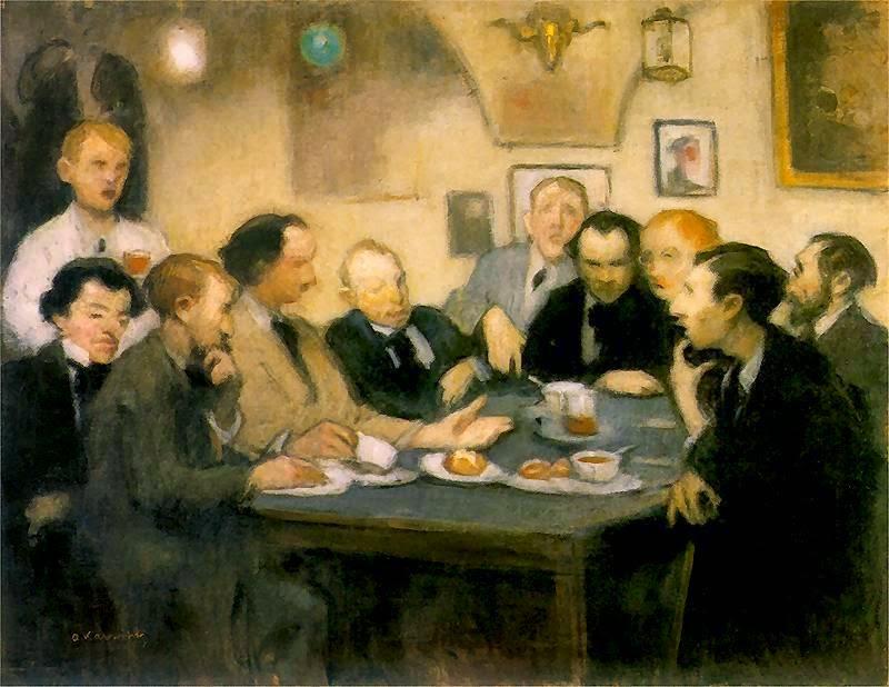 """Alfons Karpiński (1875 - 1961) """"Artyści w Jamie Michalikowej"""", ok. 1910 roku, źródło: Muzeum Narodowe we Wrocławiu"""