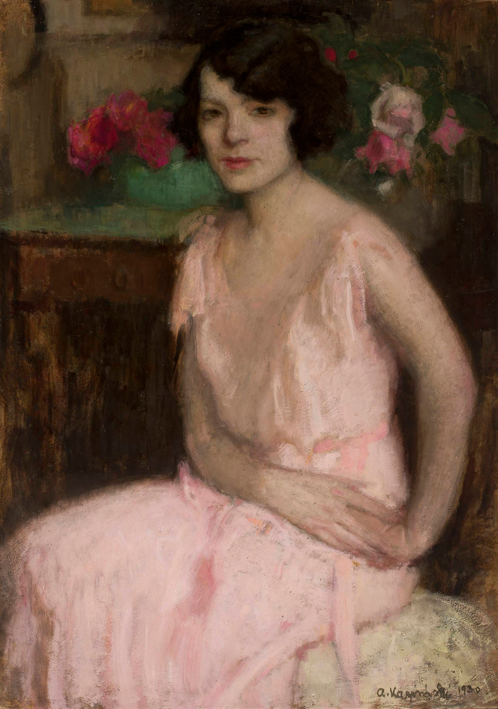 """Alfons Karpiński (1875 - 1961) """"Portret żony"""", 1930 rok, źródło: Muzeum Narodowe w Warszawie"""