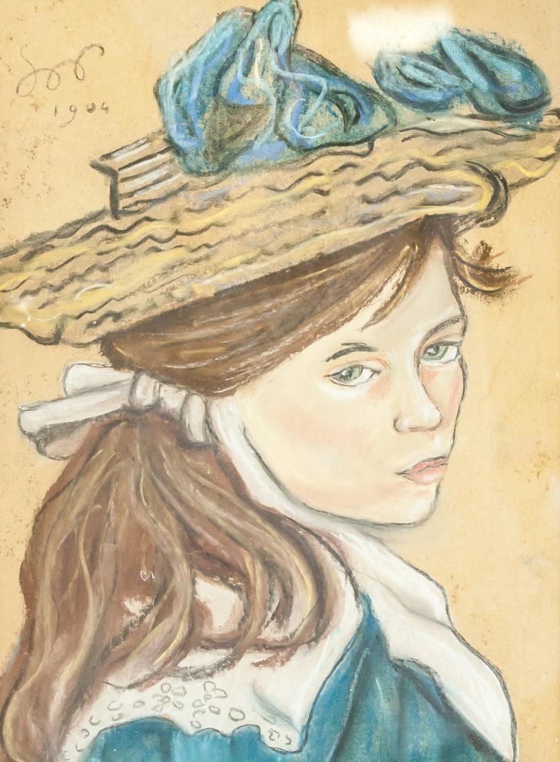 """Stanisław Wyspiański (1869-1907) """"Dziewczyna w kapeluszu"""", źródło: 888 Auctions"""