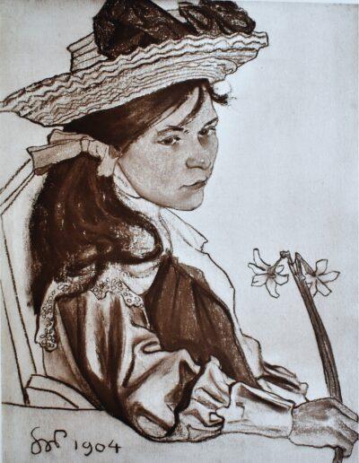 """Stanisław Wyspiański (1869-1907) """"Dziewczyna z narcyzem"""""""