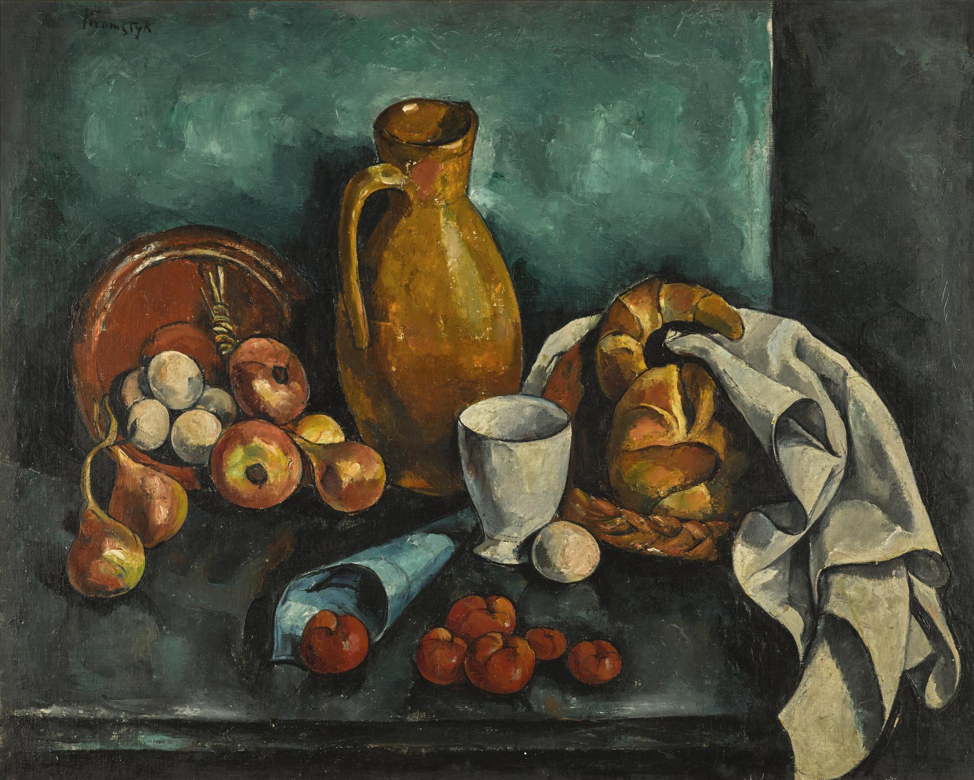 """Roman Kramsztyk (1885-1942) """"Martwa natura z jabłkami i croissantami"""", źródło: Sotheby's"""