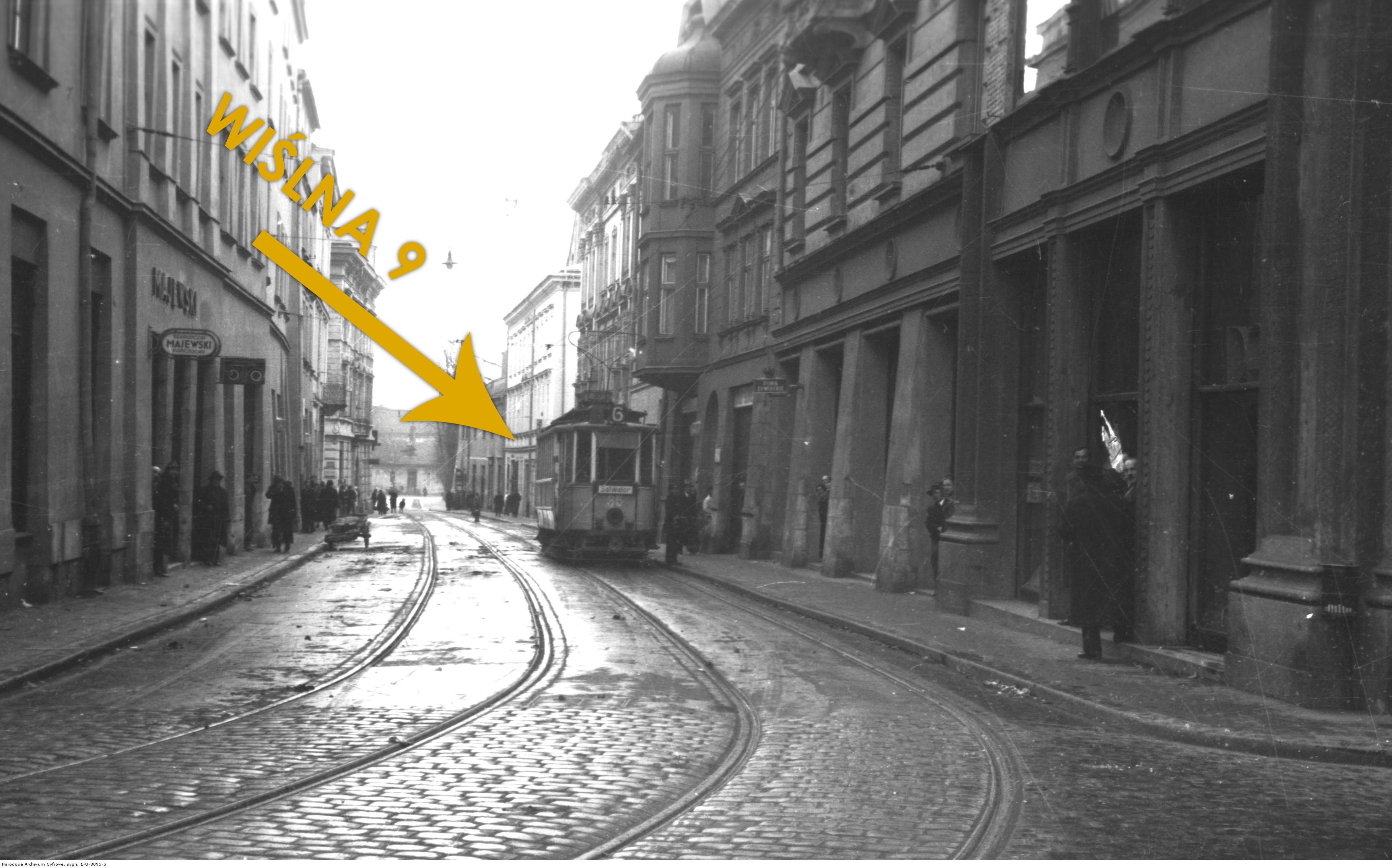 Ulica Wiślna między 1920 a 1939 rokiem, źródło: nac.gov.pl