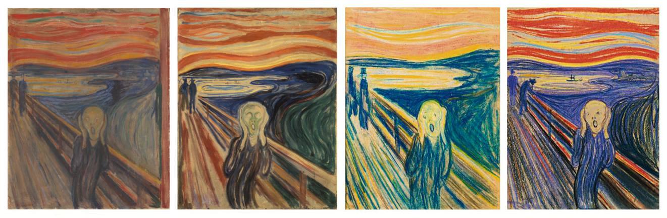 """4 wersje """"Krzyku"""" Muncha, od lewej: tempera z 1893 roku (Galeria Narodowa), tempera z 1910 roku (Muzeum Muncha), kredki z 1893 roku (Muzeum Muncha), pastel z 1895 roku (własność prywatna)."""