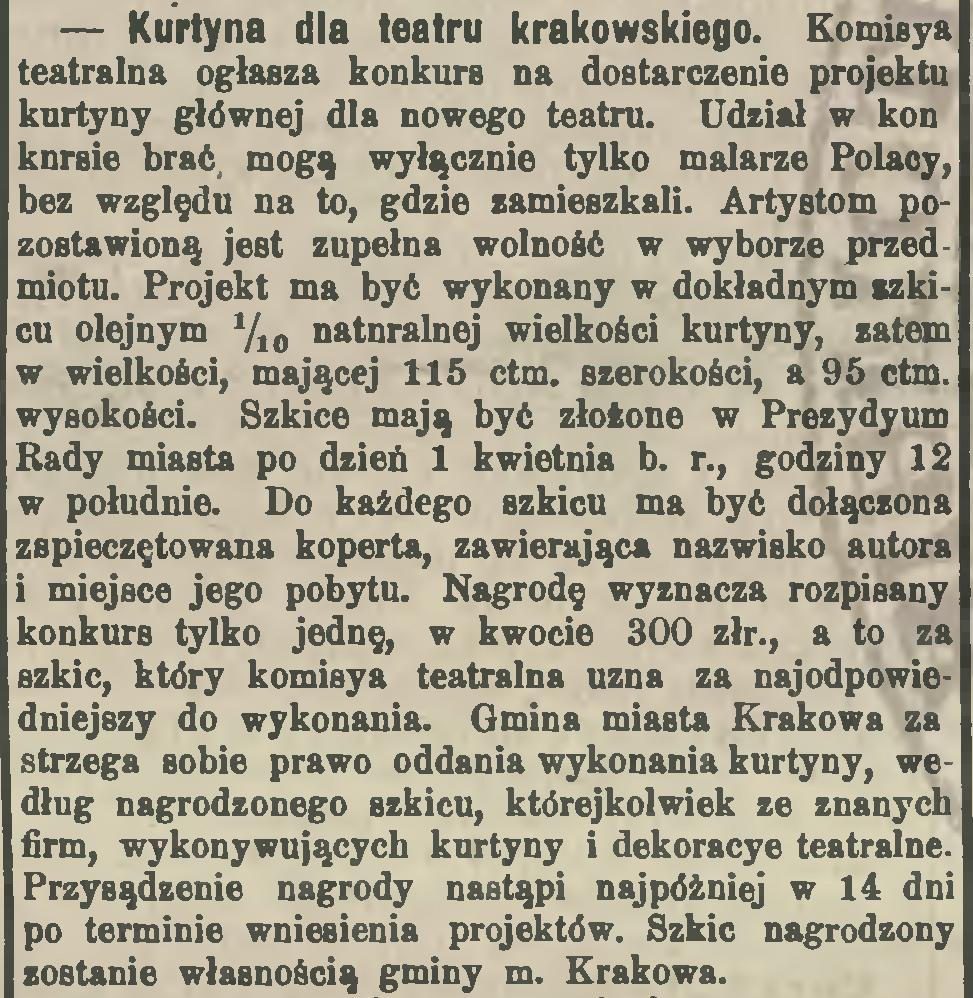 """źródło: """"Czas"""" 1892, nr 42 (21 II)"""