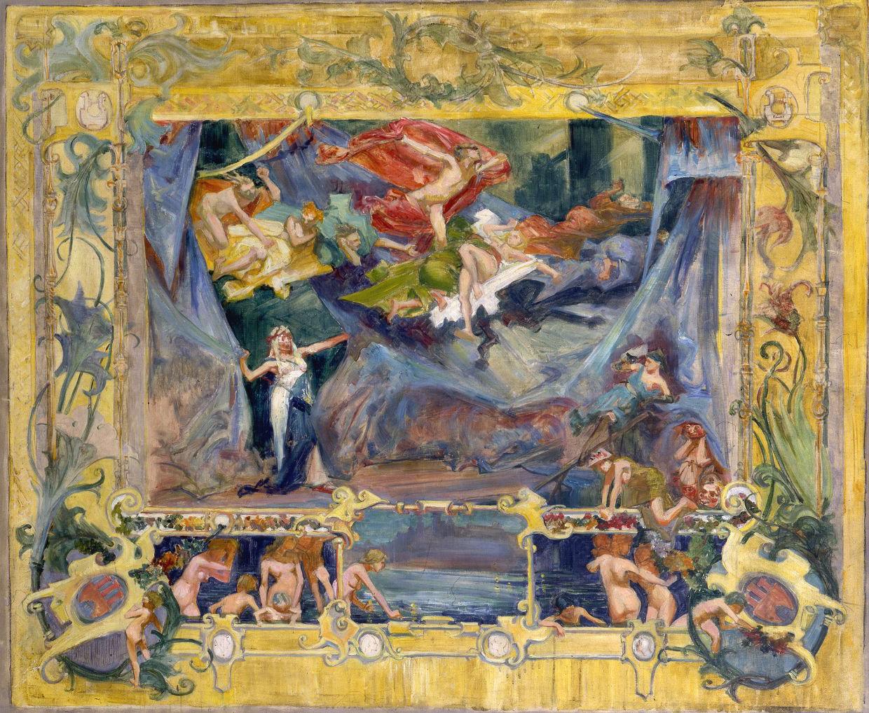 Projekt kurtyny dla teatru miejskiego autorstwa Stanisława Wyspiańskiego, źródło: Muzeum Uniwersytetu Jagiellońskiego