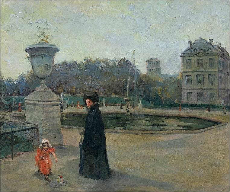 """Aleksander Gierymski (1850 - 1901) """"Ogród luksemburski w Paryżu"""", SPRZEDAŻ: 510 000 zł, źródło: AgraArt"""