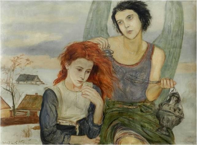 """Wlastimil Hofman (1881-1970) """"Pod skrzydłami anioła"""", SPRZEDAŻ: 83 000 zł, źródło: Polswiss Art"""